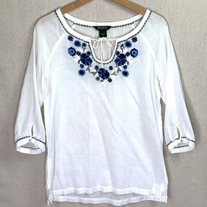 Eddie Bauer White Blue Embroidered Peasant Top